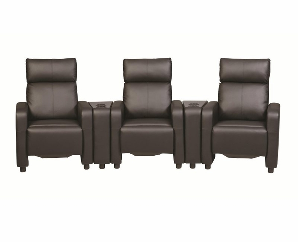 Black Vinyl Upholstered 5 Piece Reclining Home Theater Seating with Console Tables