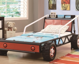 Black/White with Red Finish Twin Race Car Bed