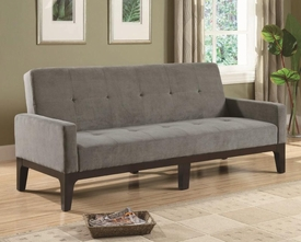 Blue/Gray Tufted Sofa Bed with Track Arms