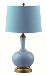Blue Table Lamp with Antique Bronze Base
