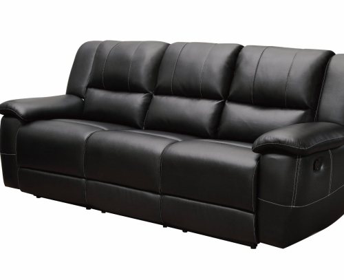 Black Bonded Leather Motion Sofa with Pillow Arms