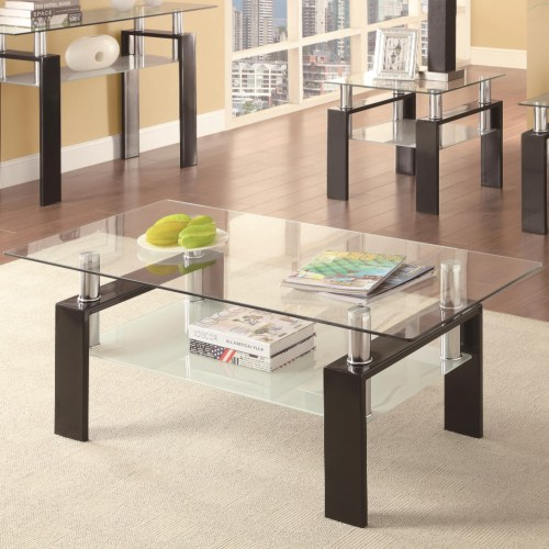 Black Base with Floating Glass Top 3-pc Set