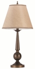 Bronze Base Table Lamp with Beige Fabric Shade