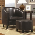 Brown Accent Chair with Ottoman