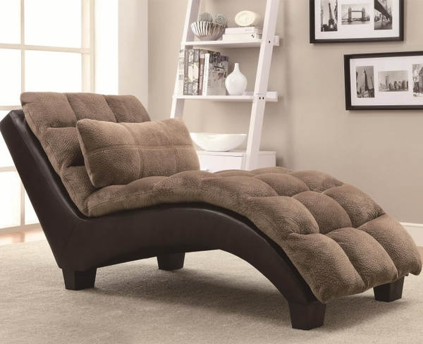 Brown Accent Pillow-top Upholstered Chaise
