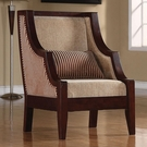 Brown Accent Striped Upholstery Chair with Exposed Wood