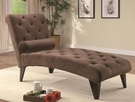 Brown Accent Velour Tufted Chaise