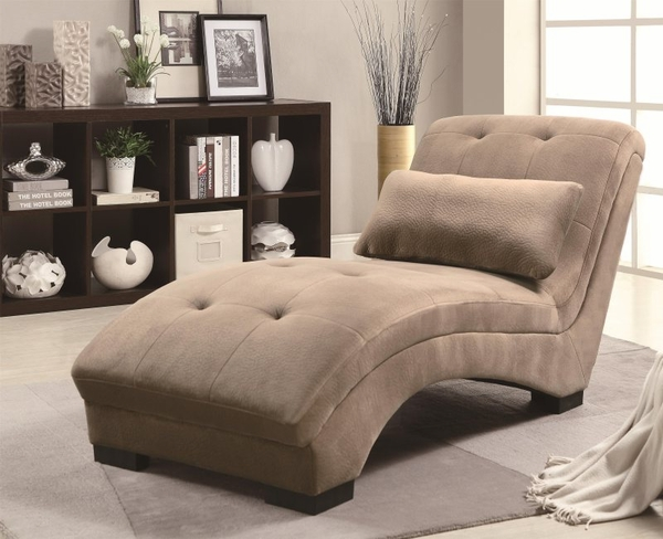 Brown Accent Velvet Lounge Chaise