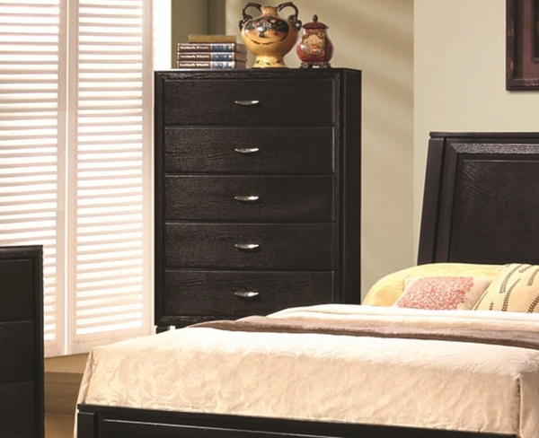 Brown Black Stained Finish Vertical Bedroom Chest By