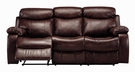 Brown Bonded Leather Double Reclining Scoop Seats Sofa