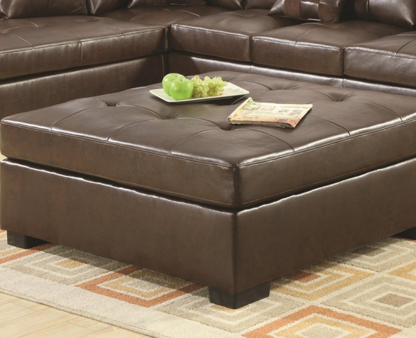 Brown Bonded Leather Ottoman with Wood Feet