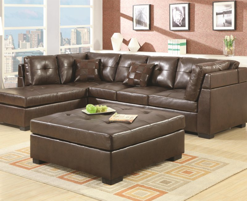 brown bonded leather sectional sofa with left side chaise