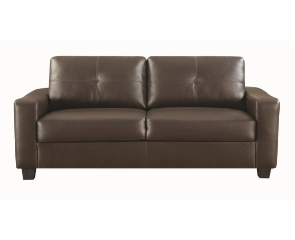 Brown Bonded Leather Upholstered Sofa