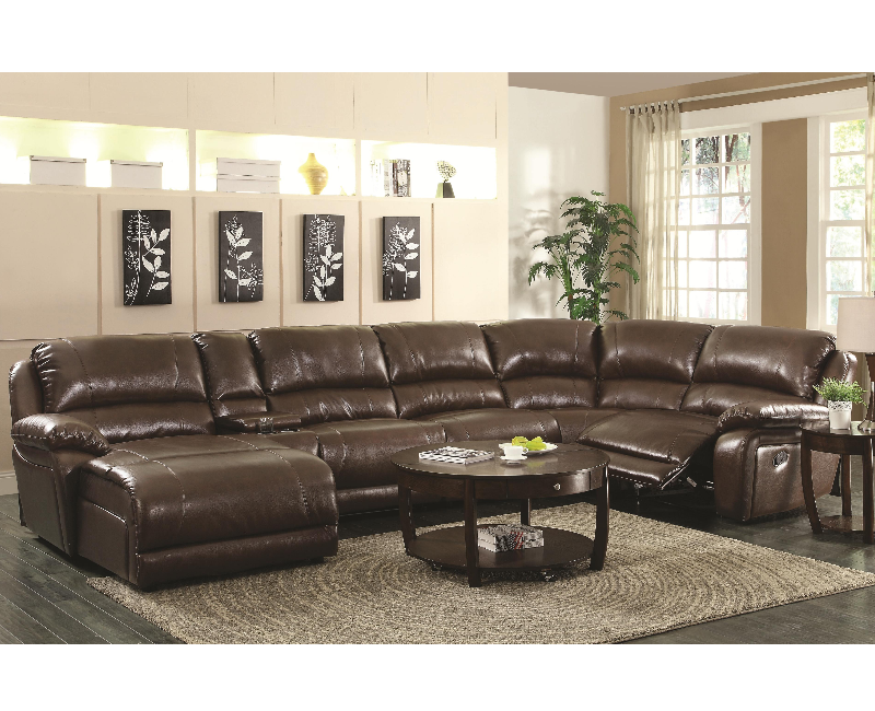 Brown Bonded Leather Upholstered 6 Piece Reclining Sectional Sofa