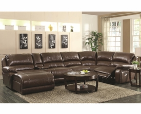 Brown Bonded Leather Upholstered 6-Piece Reclining Sectional Sofa