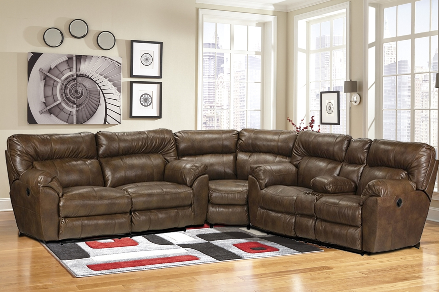 Exceptionnel Nolan Chestnut Reclining Sectional