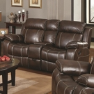 Brown Bonded Leather Upholstered Double Gliding Loveseat