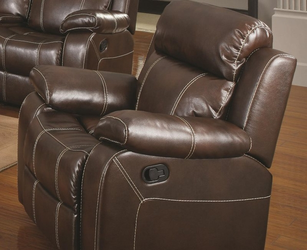 Brown Bonded Leather Upholstered Glider Recliner w/ Pillow Arms