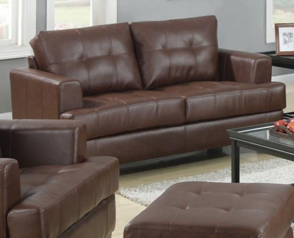 Brown Bonded Leather Upholstered Loveseat