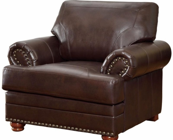 Brown Bonded Leather Upholstered Rolled Arms Chair