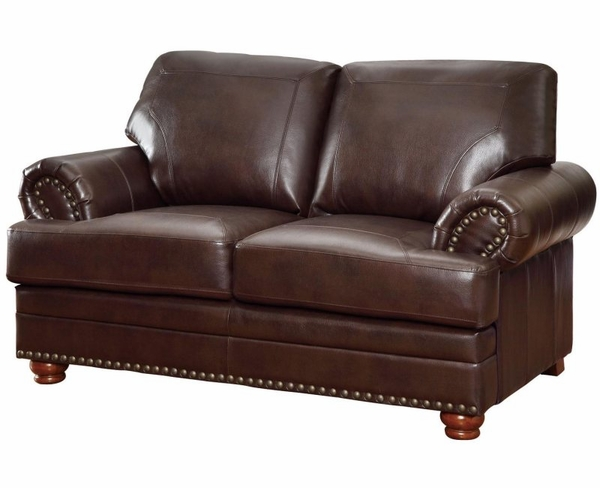Brown Bonded Leather Upholstered Rolled Arms Love Seat