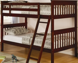 Brown Cherry Finish Twin Slat Bunk Bed