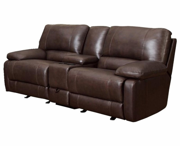 Brown Cognac Leather Reclining Motion Love Seat