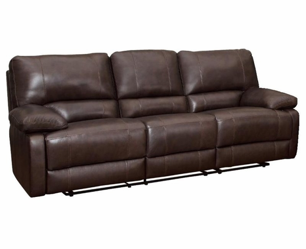 Brown Cognac Leather Reclining Motion Sofa