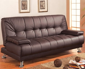Brown Fabric Convertible Sofa Bed with Removable Armrests
