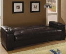 Brown Faux Leather Convertible Sofa Sleeper with Storage