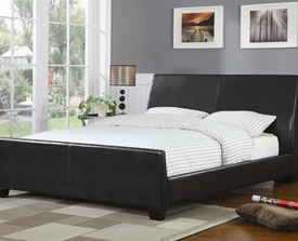 Brown Faux Leather Upholstered Queen Bed