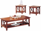 Brown Finish Briarcliff 3 Piece Occasional Table Set
