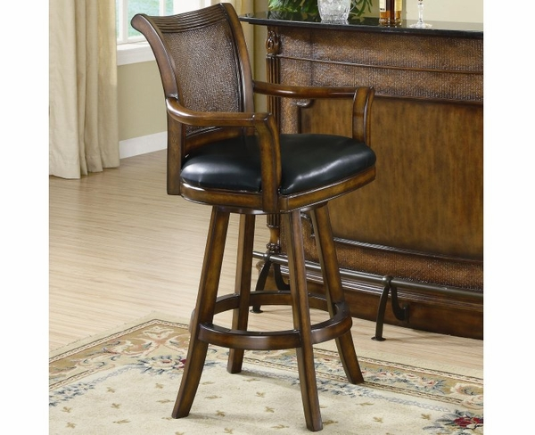 Brown Finish Bar Stool with Leather Seat