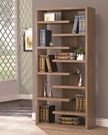Brown Finish Interjecting Shelf Bookcase with Center Back Panel