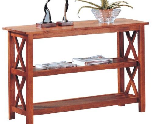 Brown Finish Briarcliff Sofa Table with 2 Shelves