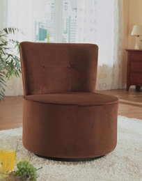 Brown Finish Ultra Plush Swivel Chair