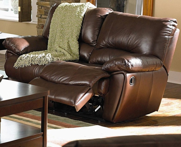Brown Leather Double Reclining Love Seat
