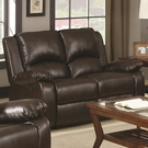 Brown Leather-Like Vinyl upholstered Double Reclining Love Seat