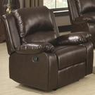 Brown Leather-Like Vinyl upholstered Recliner with Pillow Arms