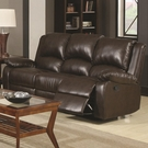 Brown Leather-Like Vinyl upholstered Three Seat Reclining Sofa