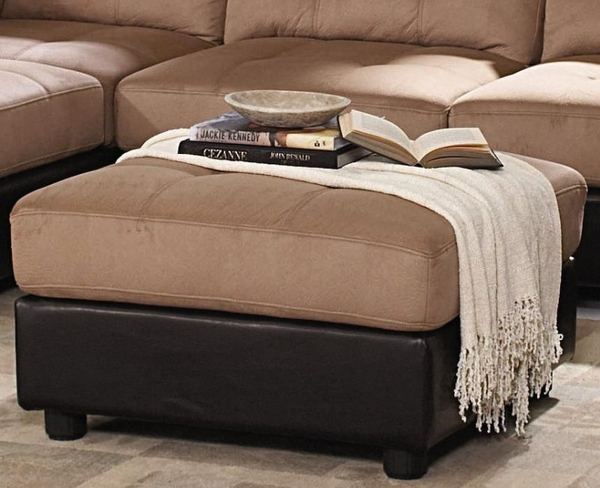 Brown Microfiber Top and Dark Brown Faux Leather Two Tone Ottoman