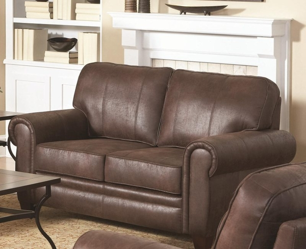 Brown Microfiber Upholstered Loveseat with Rolled Arms