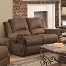 Brown Microfiber Upholstered Reclining Love Seat with Nailhead Studs