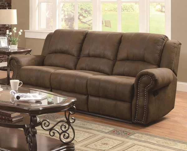 Brown Microfiber Upholstered Reclining Sofa with Nailhead Studs