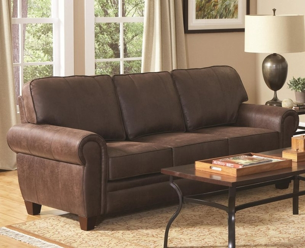 Brown Microfiber Upholstered Sofa with Rolled Arms
