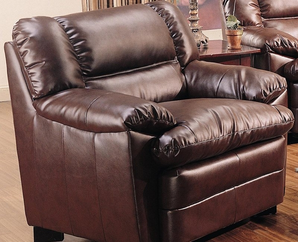 Brown Overstuffed Leather Upholstered Chair with Pillow Arms