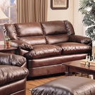 Brown Overstuffed Leather Upholstered Love Seat with Pillow Arms