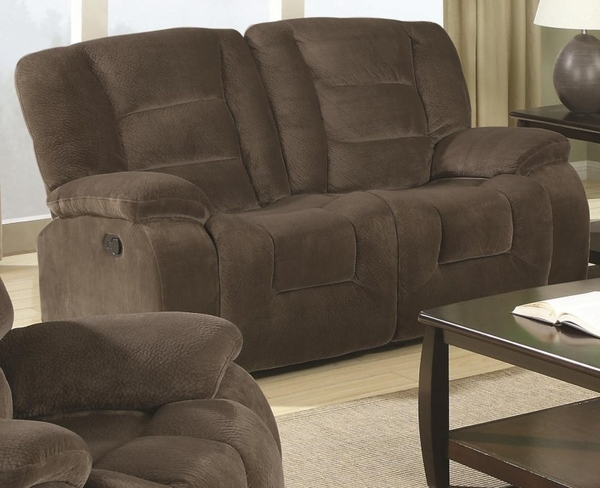 Brown Padded Velvet Motion Reclining Love Seat