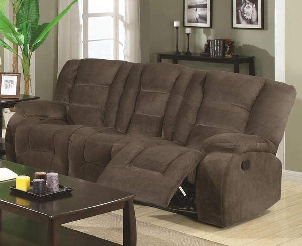 Brown Padded Velvet Motion Reclining Sofa