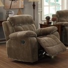 Brown Padded Velvet Upholstered Glider Recliner w/ Pillow Arms